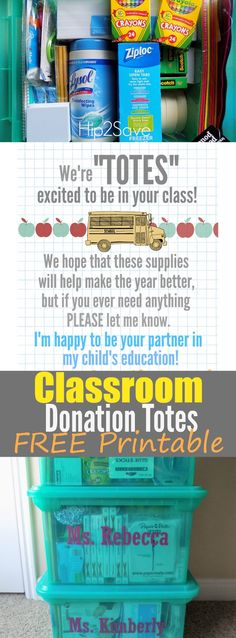 Classroom Donation Totes (Great Way to Give Back During the School Year)