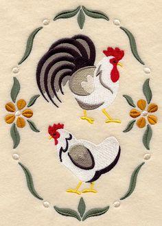 Paese polli ricamato decorativi cotone di EmbroideredbySue