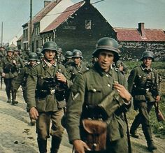 WW2 German soldiers marching.