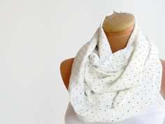 Polka dot  infinity loop scarf ivory scarf dark blue by Ellde