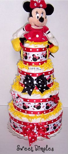 Four Tier Modern Disney Minnie Mouse Inspired Baby Shower Diaper Cake Centerpiece For A Baby Girl Baby Shower Crafts, Baby Crafts, Baby Shower Parties, Shower Gifts, Baby Shower Yellow, Baby Yellow, Bolo Fack, Pamper Cake, Mickey Mouse Baby Shower