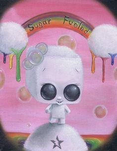Lowbrow Sugar Fueled Love Rainbow creepy cute by Sugarfueledart, $12.00