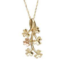 Diamond set 9ct yellow gold Love Shamrock spray pendant #houseoflor #irishjewelry #irishgold #pendant #yellowgold #rosegold
