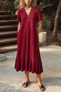 V Neck Tied Back Dress – moontica Maxi Skirt Style, Midi Flare Skirt, Backless Maxi Dresses, Striped Maxi Dresses, Tie Backs, Dress Backs, Pink Ruffle Dress, Little Dresses, High Collar