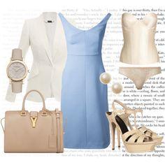Anastasia Steele's Work Outfit - Pale Blue Shift Dress, created by bigbadbrookie on Polyvore