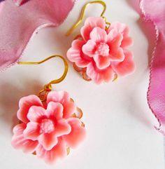 Hot pink flower earrings by 4TasteofShabbyChic on Etsy, $18.00