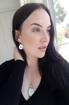 Enya Angel modelling Whimsical Wisteria Pendant and Earrings by LittleElmDesign Little Elm, Diamond Earrings, Pearl Earrings, Oval Pendant, Wisteria, Whimsical, Jewelry Design, Feminine, Angel