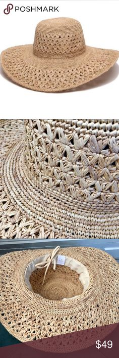 """Ale by Alessandra Boho Hermosa Beach Hat Ale by Alessandra Boho Hermosa Straw Hat  Natural color Brim is 4 1/4"""" Hat opening for head is 7 1/2"""" can be made tighter Overall hat is 16"""" including brim Ale by Alessandra Accessories Hats"""