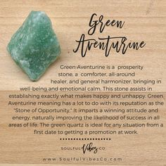 Green Aventurine is said to benefit one in all areas of creativity, and imagination, as well as intellect and mental clarity. Chakra Crystals, Crystals Minerals, Crystals And Gemstones, Stones And Crystals, Gem Stones, Green Adventurine, Crystal Magic, Crystal Healing Stones, Book Of Shadows