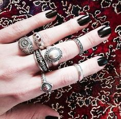 love pretty cute jewelry beautiful hippie vintage inspiration boho indie ring Grunge silver Magic retro bohemian accessories rings gypsy mystical boho style gypset midi rings midi ring