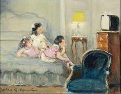 Jules-René Hervé - Trois enfants sur le lit à regarder télévision