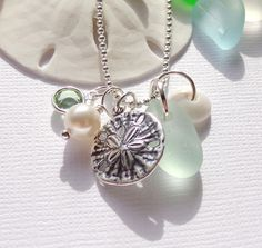 Seafoam Seaglass Sand Dollar Beach Necklace by GardenLeafSeaside, $22.00