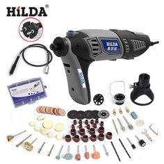 220V 180W Hilda Variable Speed Dremel Rotary Tool Electric Mini Drill with EU Plug Flexible Shaft and 133pcs Accessories