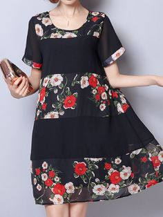 Floral Patchwork Printed O-Neck Short Sleeve Loose Women Dresses