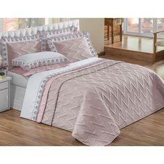 Cobre Leito para cama Casal King Brienza com 05 Peças Percal Acetinado na cor Lavanda/Rosê