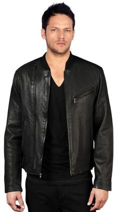 Leather Biker Jacket With Trendy Chest Pockets