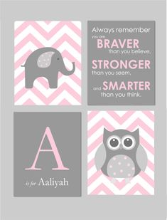 Pink and Gray Nursery Elephant Nursery Owl Nursery by karimachal
