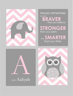 Pink and Gray Nursery Elephant Nursery Owl Nursery by karimachal