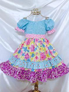 Girls Multicolor Peasant dress size 5-6 Handmade; Everyday Use; 100 % Cotton #Handmade #Everyday