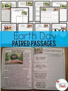 Reading Paired Passages--- Earth Day Educational Activities for the primary classroom:  reading, hands-on crafts, writing, and science activities for students to learn more about Earth Day