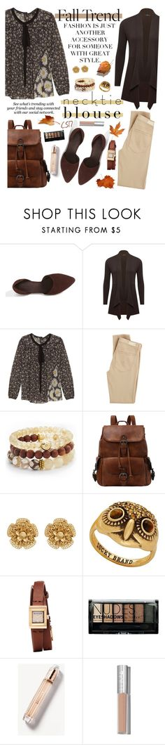"""""""Fall Trend: Necktie Blouse."""" by shiningstars17 ❤ liked on Polyvore featuring Vince, M&Co, Marc Jacobs, AG Adriano Goldschmied, Lacey Ryan, Miriam Haskell, Erdem, Lucky Brand, Gucci and Boohoo"""