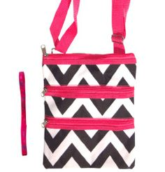 Best Black and White Chevron with Pink Trim Messenger Bag Passport Carrier Swingpack Purse Hipster Crossbody Case by TravelNut with Trendy No Metal Headband for Teens and Women. Best Valentines Day Gift for Teens and Women. Guaranteed to please. (Style 12)