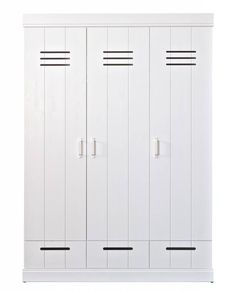 LEF collections Wardrobe 'Connect' 3 door locker door with drawers white pine Armoire, Tall Cabinet Storage, Locker Storage, Kidsroom, Home And Living, Kids Bedroom, Lockers, House Design, Collection