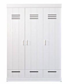 LEF collections Kledingkast 'Connect' 3 deurs lockerdeur met lades wit grenen 195X140X53cm Wonen met lef