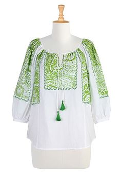 Block print cotton peasant blouse (purchased). I cut off the ties & tassels and added a button & loop at the top. Excellent quality.