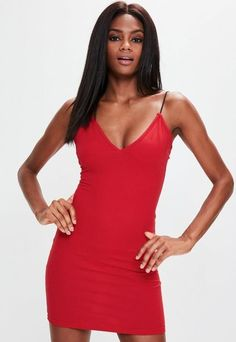 e8b93bca4bf Missguided Red Spaghetti Strap Bodycon Dress - ShopStyle