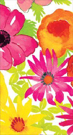 Caspari Bloom Floral Printed 3-Ply Paper Guest Towels Wholesale 10720G
