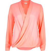 Coral wrap front blouse