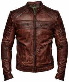 Mens Biker Vintage Motorcycle Distressed Brown Cafe Racer Leather Jacket #Branded #Motorcycle