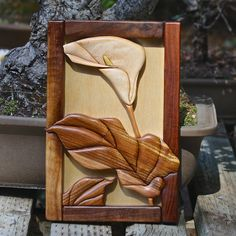 Hardwood Intarsia Callas Lily Wall Art por SierraWoodSculptures