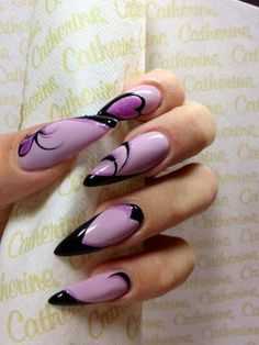 Luv the purple & black color combo but I hate sharp nails! Pink Black Nails, Purple Nails, Get Nails, Hair And Nails, Nagellack Design, Latest Nail Art, Pretty Nail Art, Gel Nail Designs, Fabulous Nails