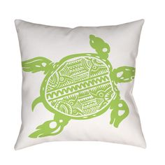Beautiful art by Kate Ward Thacker creates a coastal themed design in sea green on white for this printed pillow.