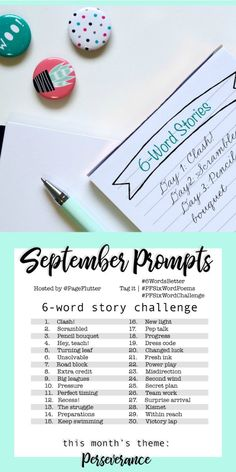 Year to a better you: september story challenge Short Story Writing Prompts, Writing Prompts 2nd Grade, Writing Prompts For Writers, Story Prompts, Writing Tips, Fiction Writing, Creative Writing, 6 Word Stories, Six Word Story