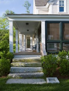 Porch framed by beautiful granite steps