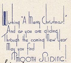 Vintage card detail from Mrs. T's Christmas Kitchen blog. What a lovely Art Deco font!