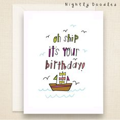 Punny Birthday Card, Funny boat birthday greeting card, (lime, pink, purple).