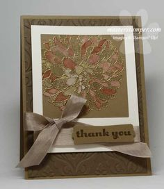 handmade thank you card ... trendy polaroid photo technique ... easy to do with square dies ... luv the look of gold embossing on kraft ... watercoloring in some petals ... Stampin' Up!