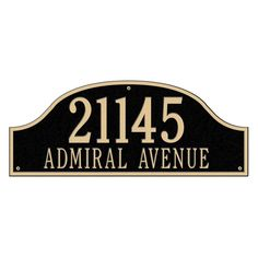 Admiral Estate Arch Black/Gold Wall Two Line Address Plaque
