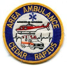 PATCH IOWA IA AREA AMBULANCE CEDAR RAPIDS EMS AIR MEDICAL HELICOPTER MEDEVAC OLD