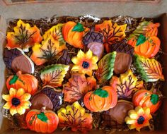 Large Fall Cookie Box by CrowsCustomCookies on Etsy, $40.00