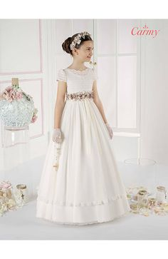Foto Vestido Comunión Niña Modelo 6619 de Carmy 2016. Catálogo Vestidos de…