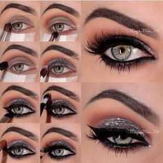 Glitter eyeshadow make-up look