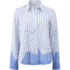 Jil Sander Amelia Striped Blouse ($740) ❤ liked on Polyvore featuring tops, blouses, white loose blouse, white button front blouse, striped blouse, blue stripe blouse and white button blouse