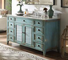 """60"""" Distressed blue Single Sink Abbeville Bathroom Sink Vanity - CF-66323BU-60"""