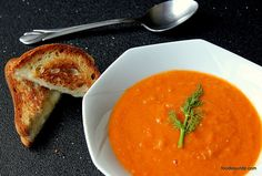 Spicy Roasted Tomato & Fennel Soup Soup with Grilled Goat Cheese sandwich #hgeats