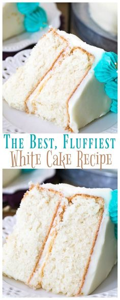 yummy cake recipes This BEST white cake recipe yields a fluffy, snow-white cake thats light and soft but still sturdy enough to stack or cover with fondant. Read on for plenty of tips for making the perfect white cake, completely from scratch! Just Desserts, Delicious Desserts, Dessert Recipes, Dessert Food, Appetizer Dessert, Picnic Recipes, Pumpkin Dessert, Cake Recipes From Scratch, White Wedding Cake Recipe From Scratch